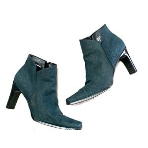 Bass denim material ankle booties sz 9.5
